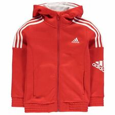 Adidas Boys 3 Stripe Logo Hoody Red/White New With Tags