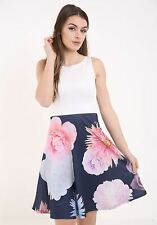 New Women Ladies Flower Floral Contrast Top Skater Box Pleated Mini Dress Tunic