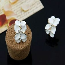Lovely Crystal Gardenia Flower Ear Stud Earrings With Buckle White Enamel