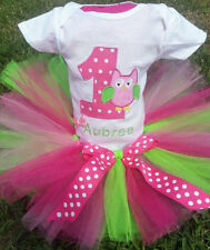 1st Birthday Owl Little Girls Onesie Tutu Outfit FREE Hair Bow Personalize