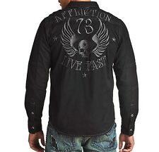 Affliction OVERTAKE Button Down Shirt L NWT NEW Woven Skull Black