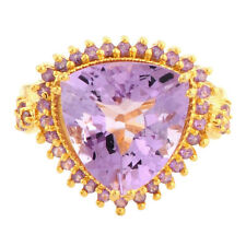 Pink Amethyst 8.35 Carat & Amethyst Gemstone Ring In 10 Kt Solid Yellow Gold