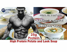 High Protein Potato and Leek Soup, high in protein and low in carbs
