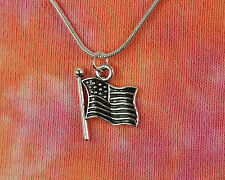 USA Flag Necklace on Snake Chain, Choose Length, Patriotic United States America