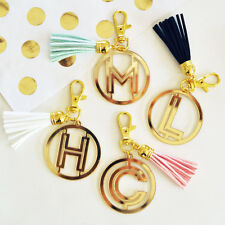 Gold Monogram Acrylic Keychain Wedding Bridesmaid Gift Bridal Shower Party Favor