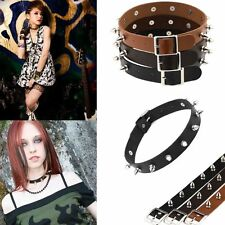 Choker Spike Rock Gothic Stud Collar Punk Necklace Leather Silver Rivet