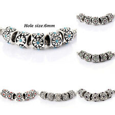 10pcs silver plated crystal Charm Flower Beads Fit Bracelets European jewelry