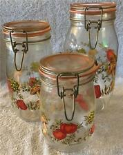 3 Vintage Glass Canning Jars w Bale Wire Latch Glass Lid 1 L, 1 1/2L, 2L France
