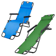 Metal Folding Chaise Lounge Chair Patio Outdoor Pool Beach Lawn Recliner  F3T6