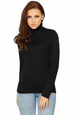 Womens Knitted Polo Jumper Ladies Long Sleeve Ribbed High Roll Neck Top 8-14