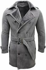 Men's Grey Military Double Breasted Real Sheepskin Suede Pea Coat