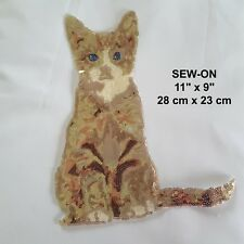 Cat Gold Brown Sequin Animal Tshirt Animal Patch Glitter Pet Applique