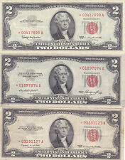 USA:Three Two Dollar bills,STAR NOTES.(1)1953,(2)1953B,(3)1963.Read below for in