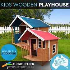 Deluxe Cubby Wooden Outdoor Kids Playhouse  Ultra-durable with Veranda 2 Colours
