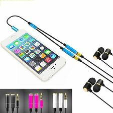 Male To 2 Female Audio Headphone Jack Earphone 3.5mm Cord Cable Adapter