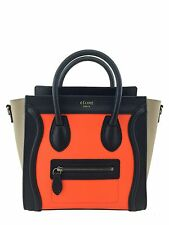 Celine Calfskin Tricolor Nano Luggage Tote Bag