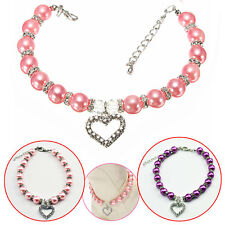 Nice Dog Cat Pearls Necklace Collar Pet Jewelry rhinestones Heart Charm Pendant