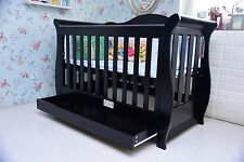 New 3 in 1 Sleigh Cot Bed Crib With Drawer Espresso