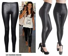 New Ladies Sexy Shiny Wet Look Black Leather Full Ankle Length Leggings TOP 8-26