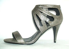 NEW SIZE 7 41 PEWTER GREY GLITTER STRAPPY MID HIGH HEEL GLADIATOR SANDALS SHOES
