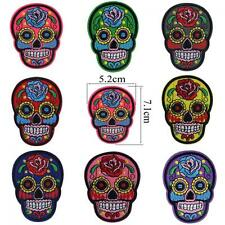 Punk Flower Skull Head Patch Embroidered Iron/sew On Applique Fabric