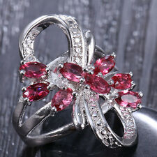 925 Silver Natural Ruby Flower Women Wedding Engagement Ring Size 6 7 8 9 10