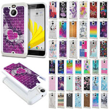 For HTC Bolt / 10 Evo 5.5 inch Bling Hybrid Hard Rubber Silicone Case Cover