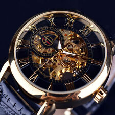 Luxury Mens Skeleton Stainless Steel Automatic Mechanical Leather Wrist Watch
