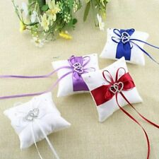 Flower Ribbon Heart White Ceremony Satin Crystal Pillow Bearer Wedding Ring