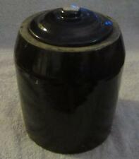 """Antique 1/2 Gallon Stoneware Pottery Dark Brown Glaze 6 1/2"""" Tall Crock with Lid"""