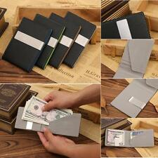 Men's Stainless Steel  ID Credit Card Holder Money Clip Pu Leather Wallet