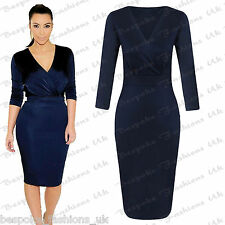 New Ladies Celeb Inspired Wrap Over Bust, Split Back Womens Bodycon Midi Dress