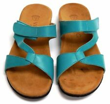 Vionic Orthaheel Pamplona Teal Leather Slide Sandal Arch Support PREOWN size 6*