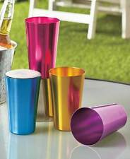 Drinking Glasses Set 4 Colorful Retro Aluminum Drinkware Cool Outdoor Tumblers
