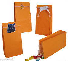 12 NEW ORANGE FLAT BOTTOM PAPER BAGS-PERFECT FOR LOLLY/ PARTY/GIFTS/SHOPS ETC.