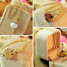 Sweater Women Gold Plated Long Chain Crystal Ballet Girl Pendant Necklace