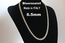 Solid 925 Sterling Silver and 18K Gold 6.5mm Curb Chain Pave ITALY - All Sizes