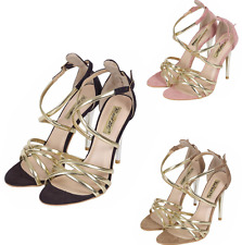 WOMENS LADIES STILETTO HIGH HEEL PEEPTOE CROSS OVER STRAPPY SANDALS SHOES SIZE