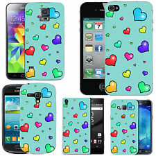 gel case cover for many mobiles - azure many lots hearts silicone