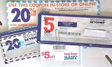 Select~Bed Bath & Beyond coupons~20% off 1 item~$5 off $15~in-store/on-line