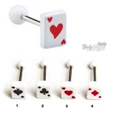 Playing Cards Poker Tongue Bars Barbells Surgical Steel 16mm length, 14G (1.6mm)