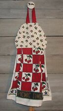 Cherries Tossed on White Hanging Kitchen Cherry Checks Pattern Dishtowel HCF&D