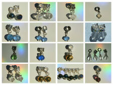 EUROPEAN DANGLE OR LOBSTER CLASP CLIP ON MIXED CRYSTAL BEADS DROP DANGLE CHARMS
