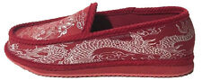 Trooper America Dragon Print Red Silver Canvas/Corduroy Slippers House Shoes