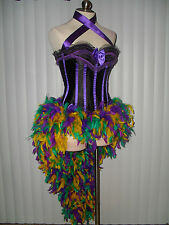 Mardi Gras Moulin Rouge Blurlesque Showgirl Corset Feather Skirt Parade Costume