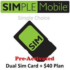PRELOADED Simple Mobile SIM Card Prepaid FREE $40 PLAN 1ST MONTH. PRE-ACTIVATED