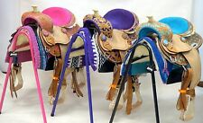 "12"" Filigree Show Saddle Western Youth Headstall Breast Collar Pink Purple Blue"
