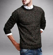 Mens Round Neck Long Sleeve Sweater Solid Cotton Knitted Retro Mixed color