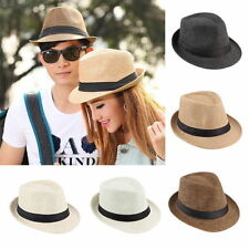 Hot Unisex Fedora Trilby Hat Cap Straw Panama Style Packable Travel Sun Hat~EG