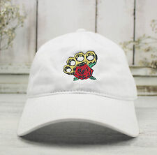 ROSE & BRASS KNUCKLES Dad Hat Embroidered Baseball Cap WHITE 100% Cotton